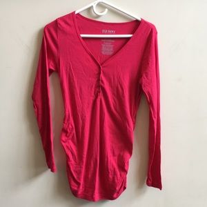 Deep pink rucched long sleeve maternity top